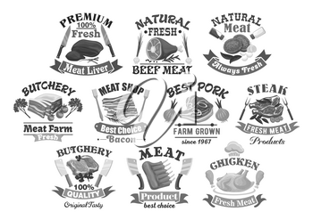 Butchery shop products icons set. Vector isolated symbols of butcher ham meat and chicken or turkey, sausages, bacon and tenderloin product delicatessen. Farm fresh steak brisket or sirloin and liver