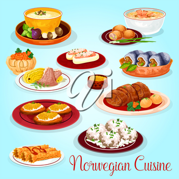 Norwegian cuisine dishes for lunch menu cartoon icon. Salmon and mushroom cream soup, potato salmon pie, herring roll, lamb cabbage stew, stuffed cucumber, fish roll, toast with pike roe, waffle roll