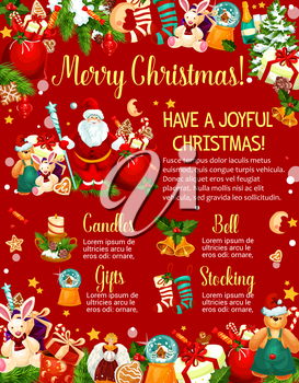 Merry Christmas poster of New Year gift and Santa Claus. Winter holidays presents, Xmas tree and bell, sock, candle and holly berry banner design, framed with star, snowflake, candy and cookie