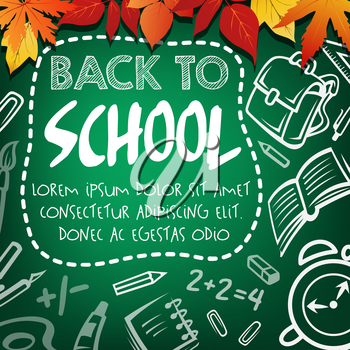 Back to school poster on green school chalkboard. School supplies and student stationery chalk sketch pattern on blackboard with pencil, book and ruler, pen, clock and globe banner with autumn leaves