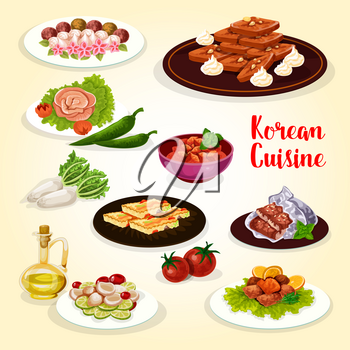 Korean food icon with dishes of national Asian cuisine. Vegetable omelette, rice cake, pickled radish and spicy fish, scallop salad, baked trout and eel fish, fried ginger cookie with nuts