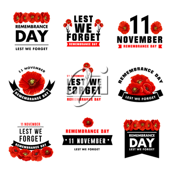 Red poppy flower icon for 11 November Remembrance Day design. Black ribbon banner with poppy flower and Lest We Forget message isolated floral symbol for British soldier and veteran Memory Day card