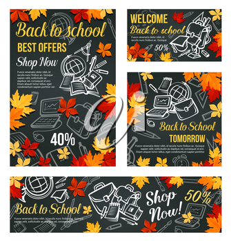 Back to School big sale web banner or discount promo poster design template of school bag or lesson stationery on chalk blackboard background. Vector book and calculator, globe or pen and pencil
