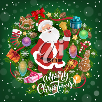 Merry Christmas greeting, Santa Claus with bell. Vector fir branches and gingerbread cookies, gift boxes or presents, cones and snowflakes, candies and socks, holly plant, winter holiday celebration