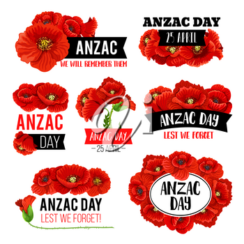 Anzac Day poppy flower memorial card with Lest We Forget message. Red flower of poppy blooming plant for 25 April remembrance anniversary of Australian and New Zealand Army Force
