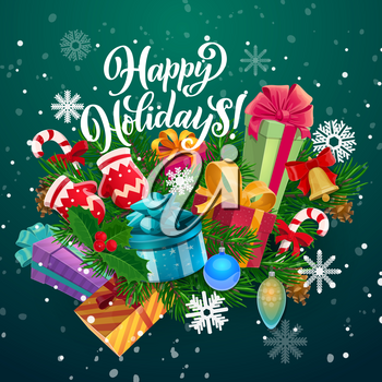 Christmas and New Year gifts vector greeting card. Xmas tree and holly berry branches with snow, present boxes and bell, snowflakes, candy canes and balls, gloves and wishes of Merry Winter Holidays