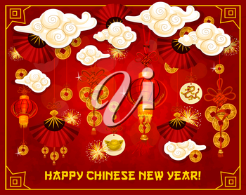 Happy Chinese New Year greeting card traditonal design of golden decorations and symbols on red background. Vector fans in clouds, lanterns and Chinese dragon symbol on gold coins