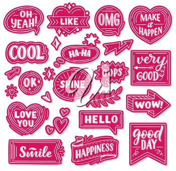 Pink paper stickers with phrases or words and exclamations. Heart-shaped, round and arrow tags with short statements girlish signs. Lettering cool and like, make it happen cards vector isolated