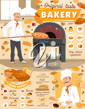 Bakery with bread and pastry products poster with baker putting pizza in stove. Sweets and pancakes, dessert and donut, bun and cracker, dough and corn, cheesecake and cupcake, croissant vector