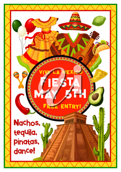 Mexican holiday fiesta party invitation banner template. Cinco de Mayo festival sombrero hat, maracas, chili and jalapeno pepper, cactus, guitar and aztec pyramid poster in ethnic ornament frame