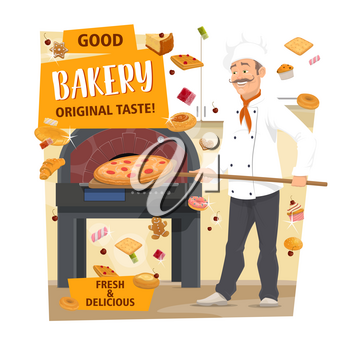 Baker baking pizza in bakery shop. Pastry chef putting shovel with bread in stove cartoon poster with croissant, cake and donut, cupcake, bun and candy, cookie, pie and waffle. Pizzeria, bakery vector