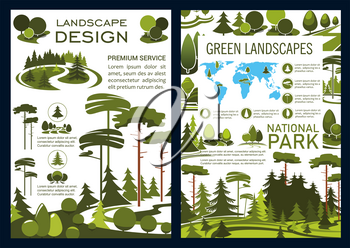 Landscape design and green horticulture service company brochure, park and garden landscaping. Vector forest, parks and garden, trees on world map. Urban ecology gardening and planting