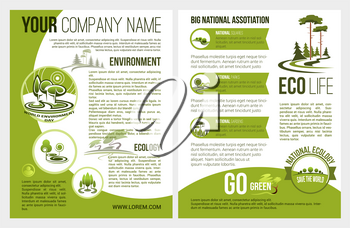 Ecology and green environment association or company brochure template. Vector design for eco gardening and nature landscape design of parkland squares, forest trees or gardens and woodlands