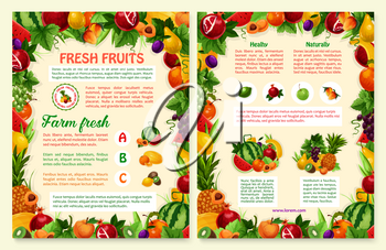 Fruits brochure or posters for fresh organic fruit products. Vector exotic mango, papaya or garden apple, and tropical pineapple, watermelon or melon and apricot or pear fruit harvest for farm market