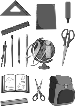 School supplies and classes stationery icons set. Vector isolated symbols of geometry rulers and dividers, scissors and paint brushes or highlighter pencil, geography globe map and school backpack
