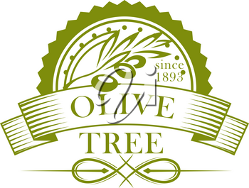 Olive tree branch with fruit and leaf isolated icon. Green olives round seal with ribbon banner for olive oil packaging label, eco farm emblem and mediterranean food themes design