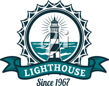 Nautical lighthouse round badge. Lighthouse tower on sea shore isolated icon with ribbon banner for marine travel and sailing club emblem design, navy heraldry themes design