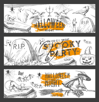 Halloween spooky party sketch banners for trick or treat horror night holiday celebration design. Vector Halloween pumpkin lantern, skeleton skull or witch, crow and black cat and grave tomb