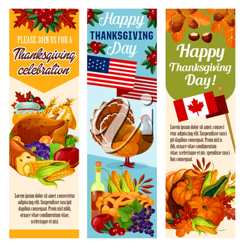Thanksgiving day dinner invitation banners set for Canadian thanksgiving holiday. Vector design of Canada flag, turkey and fruit pie, pumpkin, corn and berry harvest, maple leaf and oak acorn