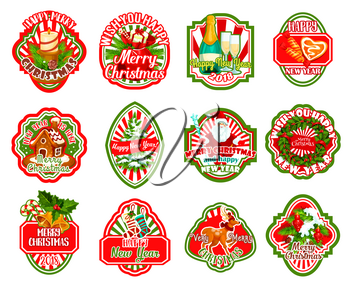 Merry Christmas greeting icons and happy winter holiday wishes set. Vector Christmas tree, Santa gift or holly wreath garland decoration, New Year stockings and candy cookie with red ribbons
