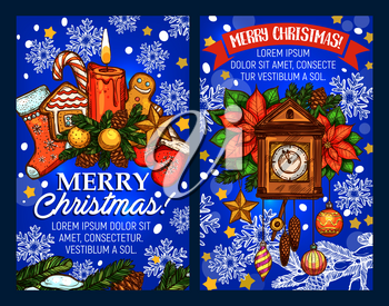 Merry Christmas wish lettering for winter holiday greeting card sketch design or New Year season celebration. Vector clock on Christmas tree garland wreath, Santa presents or candle decoration in snow
