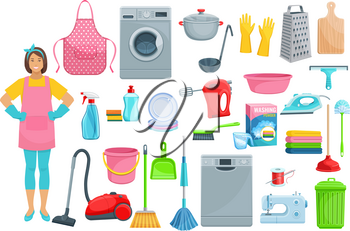 Homework flat icons for house washing, cleaning and needlework. Vector set of woman with vacuum cleaner, dishwasher machine, kitchenware grater, saucepan or sponge, mopping brush and soap detergent