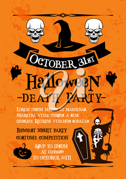 Halloween holiday night party celebration poster. Horror skull and witch hat invitation banner with Halloween pumpkin lantern, ghost and spooky skeleton or grim reaper with death scythe and coffin
