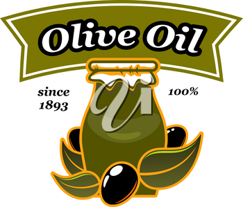 Olive oil pitcher jar and olives icon for extra virgin organic cooking oil product or bottle package label design template or Italian cuisine. Vector isolated black olive leaf for cooking oil