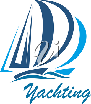 Yachting icon of yacht or sailboat on sea waves for sport club or marine travel adventure. Vector blue yacht on sails for ocean cruise journey trip or summer boat yachting tourism