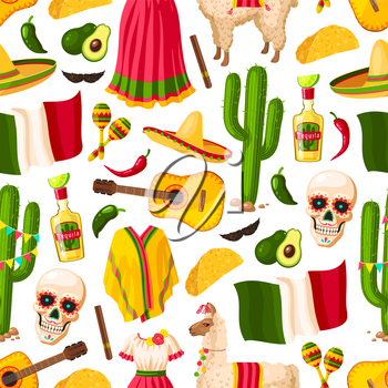 Cinco de Mayo background with mexican holiday symbols seamless pattern. Fiesta party sombrero, pepper and maracas, cactus, tequila and lime, Mexico flag, taco and chili or jalapeno for backdrop design