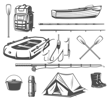Fishing sport equipment sketch set of fisherman tackle and tool. Fishing rod, hook and bait, boat, spinning and tourist backpack, paddle, boots and tent icon for outdoor leisure design