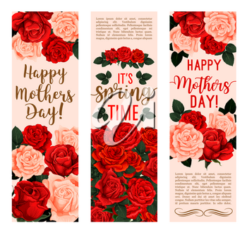 Mother Day bouquet of rose flower greeting banner. Blooming spring flower festive card with red and pink blossom, green leaf and branch for Spring Holiday celebration design