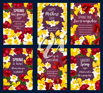 Spring Season Holiday greeting banner set with flower frame. Floral card with festive bouquet of daffodil, rose and tulip, peony and freesia flower for Mother Day Holiday celebration template