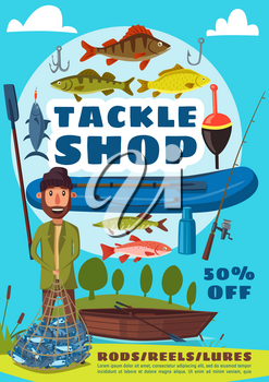 Tackle shop and fishing sport vector poster, fisherman holding net full of fish. Wooden and inflatable boat, bait and hook, trout and perch, carp and herring. Outdoor activity or hobby theme