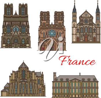 France famous travel landmark buildings and Marseilles architecture sightseeing line icons. Vector set or Saint Remi basilica, Notre Dame de Laon and Soissons cathedral and Reims palace