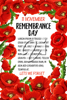 Remembrance Day greeting card of poppy flowers for 11 November Lest we Forget Commonwealth national commemoration. Vector poppies for Australian, Canadian and British armistice veterans remembrance