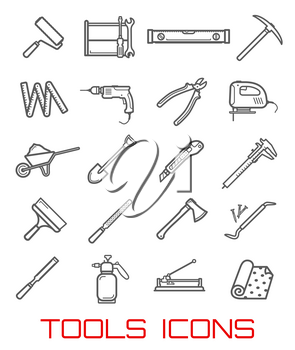 Tools icons and symbols, instruments for building line art. Roller, screwdriver and wrench, level ruler and sharp pick, electric drill and big pliers, jig saw and cart with sand, outline vector