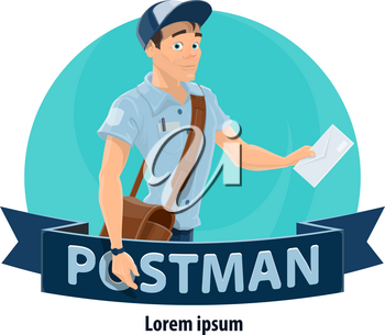 Postman with mailbag and letter cartoon icon. Mailman in blue uniform and hat delivering letter envelope symbol with ribbon banner for postal office worker and delivery service profession design