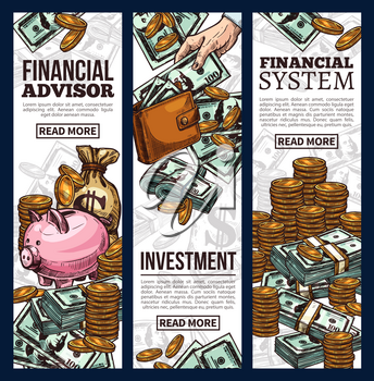 Finance and investment banner set of money sketch. Cash currency of dollar bill and gold coin pile with money bag and piggy bank for financial management, economy system and business success design