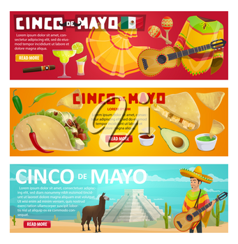 Cinco de Mayo greeting banner with mexican holiday food and fiesta party symbols. Spring festival sombrero, chili pepper and jalapeno, maracas, guitar and avocado, tequila and taco festive card design