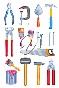 Work tool icon set of watercolor home repair instrument and equipment. Hammer, pliers and screw, paint, brush and roller, saw, nails and trowel, cutter, clamp and pincers for construction theme design