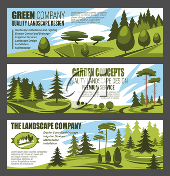 Landscape design premium service, urban horticulture and city eco gardening. Vector design of forest trees, parkland squares and parks. Green nature architect