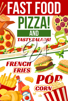 Fast food menu poster for fastfood cafe, restaurant or bistro. Vector Italian pizza and Mexican burrito or Chinese noodles, cheeseburger or hot dog sandwich and chicken nuggets with fries or popcorn