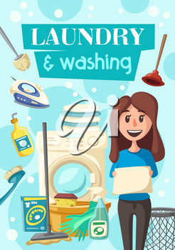 Laundry and washing poster of housewife for clean house. Vector cleaning items of woman with washing machine, sponge and polisher or detergent soap and plunger for bathroom and toilet cleaning