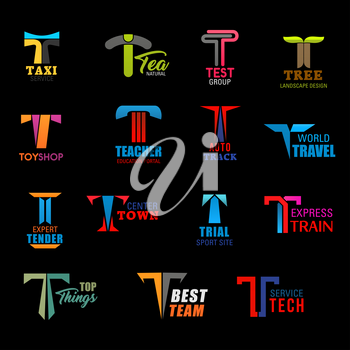 Letter T icons of taxi service, landscape design company and education portal. Vector T signs of travel agency, express train transportation, sport team od technology and toy shop