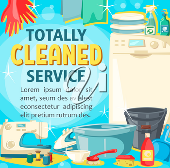 House cleaning service poster, home washing, sewing and laundry. Vector professional housekeeping tool, floor and window glass polisher or washing machine and dish cleaner soap or iron
