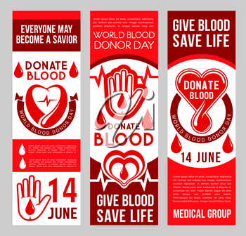 Blood donation donor Day banners for 14 June event of social responsibility and charity action. Vector medical design of heart and blood drop for World Donation day and volunteering center