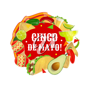 Cinco de Mayo fiesta Maracas, Mexican party food and drink vector design. Cactus tequila, margarita and chilli pepper, avocado, tacos and corn nachos, lime, jalapeno and mariachi musician costume