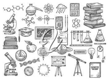 Science equipment, chemistry and biotechnology tools, vector experiments and tests sketch icons. Atoms and molecules, dna structure, laboratory glassware and flasks. Analyze research device and books