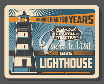 Lighthouse retro poster, famous marine beacon and nautical travel adventure. Vector vintage lighthouse on seaside and frigate sail ship on ocean waves
